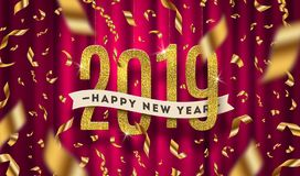 Happy New year 2019 greeting illustration. Glitter gold numbers and golden foil confetti on a red curtain background. Happy New year 2019 greeting vector vector illustration