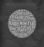 Happy New Year. Greeting written in chalk on blackboard royalty free illustration