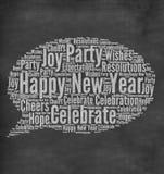 Happy New Year. Greeting written in chalk on blackboard stock illustration