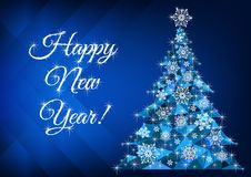 Happy New Year greetings with abstract christmas tree