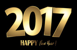 Happy new year 2017 greetings background. Happy new year 2017 greetings with golden numbers and black background Stock Images