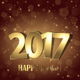 Happy new year 2017 greetings background. Happy new year 2017 greetings with golden numbers and brown background Royalty Free Stock Photo
