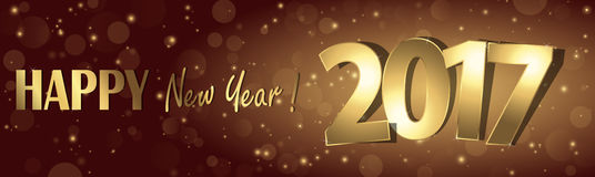Happy new year 2017 greetings background. Happy new year 2017 greetings with golden numbers and brown background Royalty Free Stock Photography