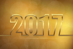 Happy new year 2017 greetings background. Happy new year 2017 greetings with golden numbers and golden background Stock Photos