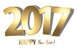 Happy new year 2017 greetings background. Happy new year 2017 greetings with golden numbers and white background Royalty Free Stock Images