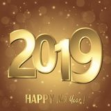 Happy new year 2019 greetings background. Happy new year 2019 greetings with golden numbers and brown background royalty free illustration