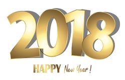 Happy new year 2018 greetings background. Happy new year 2018 greetings with golden numbers and white background Royalty Free Stock Image