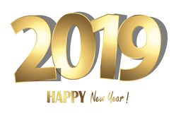 Happy new year 2019 greetings background. Happy new year 2019 greetings with golden numbers and white background royalty free illustration