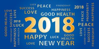 2018 Happy New Year greetings banner. Blue and gold. 2018 Happy New Year greetings festive vector banner. Blue and gold Royalty Free Stock Images