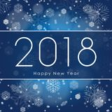 Happy New 2018 Year. Greetings banner with white Snowflake on blue Winter background. Vector illustration. EPS 10 Stock Images