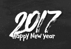 Happy New Year 2017 greetings on black chalkboard. Happy New Year 2017 vector vintage background with lettering and black chalkboard. Greeting card template Royalty Free Stock Photos