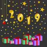 Happy new year 2019 and greetings Card. Background vector illustration