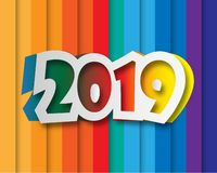 Happy new 2019 year. Greetings card. Colorful design. Vector ill. Ustration royalty free illustration