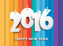 Happy new 2016 year. Greetings card. Colorful design. Vector ill Stock Image