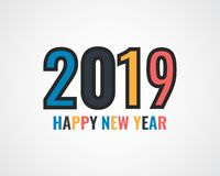 Happy new year 2019 . Greetings card. Colorful design. Vector illustration.  vector illustration