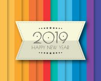 Happy new 2019 year. Greetings card. Colorful design. Vector illustration.  stock illustration