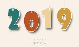 Happy new year 2019. Greetings card. Colorful design. Vector illustration.  stock illustration