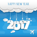 Happy new 2017 year. Greetings card. Colorful design.  Royalty Free Stock Photography