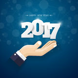 Happy new 2017 year. Greetings card. Colorful design.  Stock Images