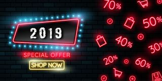 Happy new year 2019. Greetings card. Colorful neon glow in the drak . Vector illustration.  royalty free illustration