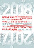Happy new year greetings card from all the world. Happy new year greetings card in different world languages vector illustration