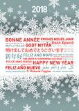 Happy new year greetings card from all the world. Happy new year greetings card in different world languages royalty free illustration