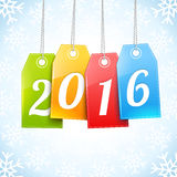 Happy New 2016 Year Greetings Card. With hanging price tags Royalty Free Stock Photography