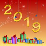 Happy new year 2019 and greetings Card. Background stock illustration
