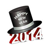 Happy New Year 2014 Greetings Card with top hat Stock Photography