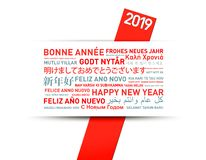 2019 Happy new year greetings card from the world. In different languages royalty free illustration