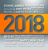 Happy new year greetings card from the world. In different languages royalty free illustration