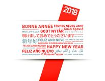 Happy new year greetings card from the world. In different languages vector illustration