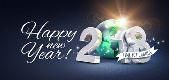 Happy New Year 2018 Greetings for change. Greetings and silver New Year date 2018, composed with a green planet earth, on a glittering black background - 3D Stock Photography