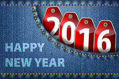 Happy New Year greetings and 2016 digits on red tags Stock Image