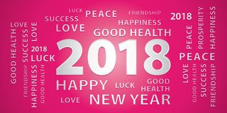 2018 Happy New Year greetings banner. Pink and silver. 2018 Happy New Year greetings festive vector banner. Pink and silver vector illustration