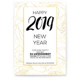 Happy New year greetings with floral background. Fashion party poster Background with outlines of roses bud. Design of. Hand-drawn calligraphic text and royalty free illustration