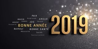 Happy New Year 2019 French Greeting Card. Happy New Year greetings in French and 2019 date number, colored in gold, on a festive black background, with glitters stock illustration