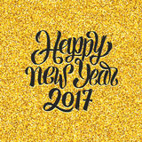 Happy New Year 2017 greetings on gold background Stock Photo