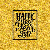 Happy New Year 2017 greetings on gold background Royalty Free Stock Photography