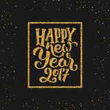 Happy New Year 2017 greetings on gold background Stock Images