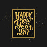 Happy New Year 2017 greetings on gold background Royalty Free Stock Photo