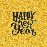 Happy New Year greetings on golden background Royalty Free Stock Images
