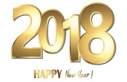 Happy new year 2018 greetings background. Happy new year 2018 greetings with golden numbers and white background Royalty Free Stock Images
