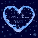 Happy new year greetings in a heart-shaped frame. Of frosty ice patterns vector illustration