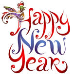 Happy New Year greetings lettering with Rooster Stock Photography