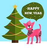 Happy New Year Greetings Poster Christmas Tree Dog. Happy New Year greetings poster evergreen Christmas tree with color garlands and pink cartoon dog having Royalty Free Stock Photos