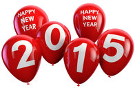 2015 Happy New Year. Greetings with red isolated balloons Stock Photo