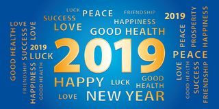 2019 Happy New Year greetings vector banner. Blue and gold. 2019 Happy New Year greetings vector banner. Blue and gold festive background Stock Photo