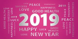 2019 Happy New Year greetings vector banner. Pink and silver. 2019 Happy New Year greetings vector banner. Pink and silver festive background royalty free illustration