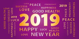 2019 Happy New Year greetings vector banner. Purple and gold. 2019 Happy New Year greetings vector banner. Purple and gold festive background Royalty Free Stock Images
